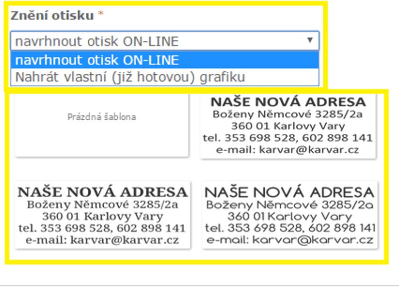 volba vložení textu || obchodRAZITEK.cz