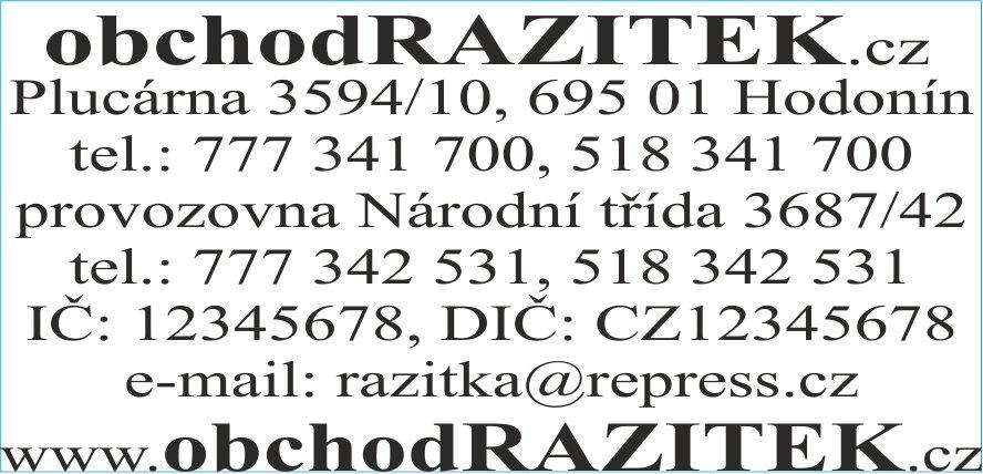 Velikosti 30x69 mm - vzor 1 || obchodRAZITEK.cz