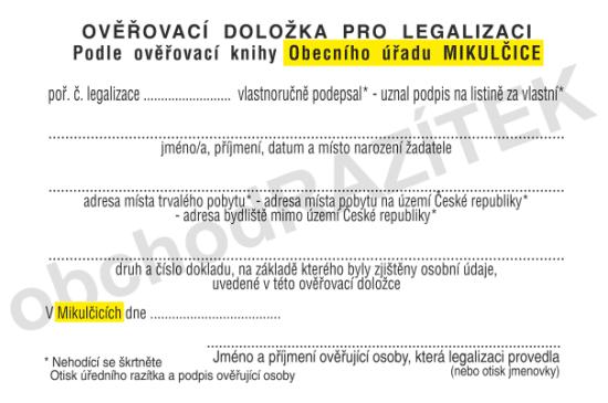 legalizační razítko || obchodRAZITEK.cz