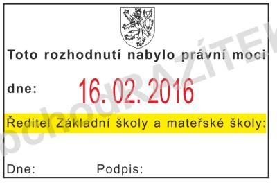 razítko k označení nabytí právní moci || obchodRAZITEK.cz