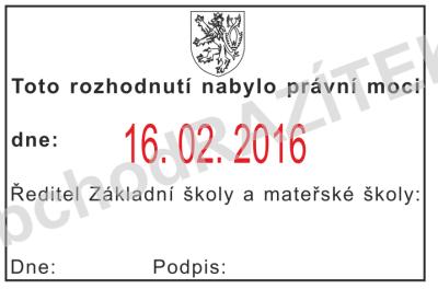 úřední razítka k označování nabytí právní moci || obchodRAZITEK.cz