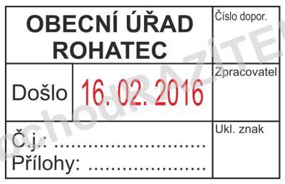 razítko na podatelny - vzor 2 || obchodRAZITEK.cz